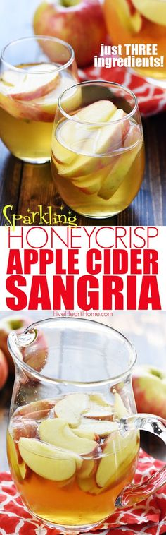 Sparkling Apple Cider Sangria ~ a festive fall cocktail recipe with just three ingredients -- white wine, apple cider, and sweet sliced Honeycrisps -- perfect for tailgating, Halloween, Thanksgiving, and even Christmas! | FiveHeartHome.com
