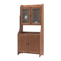 LEKSVIK Aparador con vitrina IKEA Puertas de vidrio templado, para exponer tus objetos favoritos al resguardo del polvo.