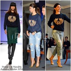 Bollywood superstar, Deepika Padukone, in Hemant and Nandita FW14. Shop similar styles now on portemode.com!