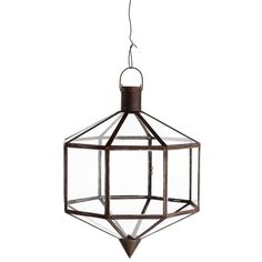 Lantern in oxidized brass for hanging and a socket. Use the lantern at the cottage or at the home where the light summery feeling is the house's theme. Lantern is also very fine on the covered patio all year round.