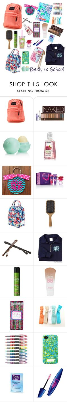 """Back to School Essentials 2013"" by lauryntamia ❤ liked on Polyvore featuring JanSport, Lilly Pulitzer, Urban Decay, Eos, Justin Bieber, Vera Bradley, Aveda, Goody, Maybelline and Sharpie"