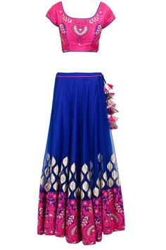 Royal blue and hot pink thread embroidered lehenga set available only at Pernia's Pop-Up Shop.