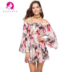 4b355f714c 2018 Women Boho Chic Floral Print Ruffle Summer Off Shoulder Loose Short  Dress Mini Beachwear Sundress Tunic Fashion Vestidos