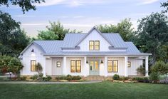 This modern farmhouse gives you Southern details and lots of style. Check out the open floor plan and farmhouse living room. Use code GETSOCIAL for 10% off your house plan (some exclusions apply). Questions? Call 1-800-447-0027 today. #architect #architecture #buildingdesign #homedesign #residence #homesweethome #dreamhome #newhome #newhouse #foreverhome #interiors #archdaily #modern #farmhouse #house #lifestyle #design #buildersareessential Modern Farmhouse Design, Farmhouse Style, Built In Lockers, Local Builders, Porch Plans, Beautiful Farm, Exposed Brick, Home Fashion, Architecture Design