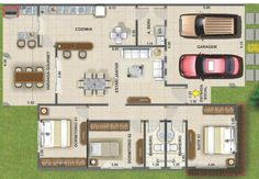 0013 Plano de casa de 148M2 y 3 Dormitorios. Como pueden ver, el plano de esta casa, tiene 3 dormitorios, dos casi iguales que pueden ser los principales y uno en medio que se puede disponer para visitas, por ejemplo. Ademas cuenta con la proyección de un estacionamiento para dos automoviles perfectamente, 2 cuarto de baños, uno para la habitación principal y otro compartido para el resto de la vivienda, un amplio living y comedor, cocina en conjunto y una terraza amplia trasera, miren el…