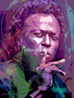 """Miles Davis Silence"" by David Lloyd Glover, Los Angeles // Jazz great Miles Davis portrait.  Miles suggests silence so you may hear the sounds of his music. // Imagekind.com -- Buy stunning, museum-quality fine art prints, framed prints, and canvas prints directly from independent working artists and photographers."