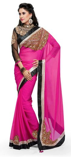 Buy Online Shopping Deals Offers In India -shoponics Moh manthan rani designer Party wear Saree for women Stylish rani saree features beautiful golden embroidery Sparkling embellishments on pallu and fall Combination of silver & black lace along the border Made from sheer & soft texture chiffon fabric Matching tassels dangling from tip of the saree's pallu Buy designer branded saree online at best value