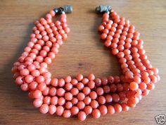 ANTIQUE VTG ART DECO 30s GENUINE NATURAL RED CORAL BEAD WIDE MULTI ROW BRACELET   eBay
