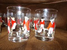 CERA Glass (of NJ), Scarce, Fox Hunt. These whimsical Reynard Fox glasses depict 'high-society, snooty foxes'. They are each signed with the Cera logo. There are 4 in the scarce, Male Fox version. Vintage Glassware, Foxes, Barware, Glasses, Eyewear, Eyeglasses, Fox, Eye Glasses, Tumbler