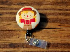 Scarecrow Badge, Fall Badge, Hoilday Badge, Retractable Badge,Swivel Clip,RN Badge, CnA Badge, Coach Badge, Teacher Badge, Fabric Badge by TheNerdyFatCat on Etsy