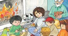 Τα παιδιά κάθονται κοντά στο τζάκι, πίνουν ζεστό τσάι και αναρωτιούνται τι πρέπει να κάνουν με το κλειδί.           Διαβάσαμε το κείμενο..... Education, Anime, Cartoon Movies, Anime Music, Onderwijs, Learning, Animation, Anime Shows
