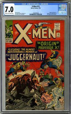 #certified #graded #cgc #cpgx #art #DC #Marvel #comic X-Men #12 (1965) 1st Juggernaut Origin of Professor X CGC 7.0 Marvel Comics