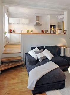 Aivan ihana olohuone-keittio-yhdistelmä!