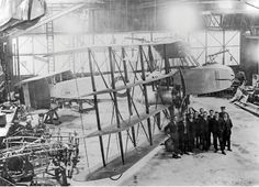 Pemberton-Billing P.B.31 Nighthawk (1916) - British WWI prototype of interceptor of Zeppelins. First plane under construction. 4th from the left in 2nd row is Reginald Mitchell who started working at Pemberton-Billing in 1915. The company later became Supermarine.