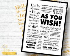 "The Princess Bride! - 5x7"" AND 8x10"" Combo - Custom Print, Movie Quote, Poster"