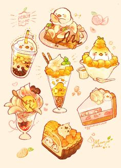 Some peach and mango birbs It s really hot lately and I want to eat some cold peaches and mangoes # Dessert Illustration, Japon Illustration, Cute Illustration, Cute Food Drawings, Cute Animal Drawings Kawaii, Drawing Of Food, Arte Do Kawaii, Kawaii Art, Kawaii Stuff