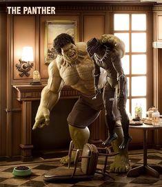 Hulk 's Pet is Black Panther Ms Marvel, Marvel Jokes, Marvel Funny, Marvel Dc Comics, Marvel Heroes, Marvel Characters, Hulk Marvel, The Avengers, Bd Comics