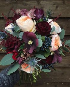 Top 8 Striking Navy Blue Wedding Color Palettes for 2019 Fall---navy and plum wedding bouquet for woodland wedding theme, September and October weddings wedding flowers Top 8 Striking Navy Blue Wedding Color Palettes for 2019 Fall Bridal Bouquet Fall, Fall Wedding Bouquets, Fall Wedding Flowers, Wedding Flower Arrangements, Floral Wedding, Halloween Wedding Flowers, Navy Bouquet, Winter Bouquet, Thistle Bouquet