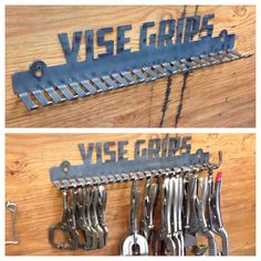 Vise Grip Rack - Storage for SnapOn Matco Craftsman Husky Blue Point Mac Garage Tool Storage, Workshop Storage, Garage Tools, Garage Workshop, Workshop Layout, Storage Rack, Welding Shop, Welding Table, Metal Projects