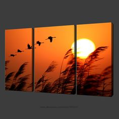 set of three wall art birds sunset canvas s picture oil paintings black white modern drum Three Canvas Painting, Bird Paintings On Canvas, Canvas Painting Tutorials, Diy Canvas Art, Oil Paintings, African Sunset, Sunset Canvas, Renaissance Paintings, Cardboard Art