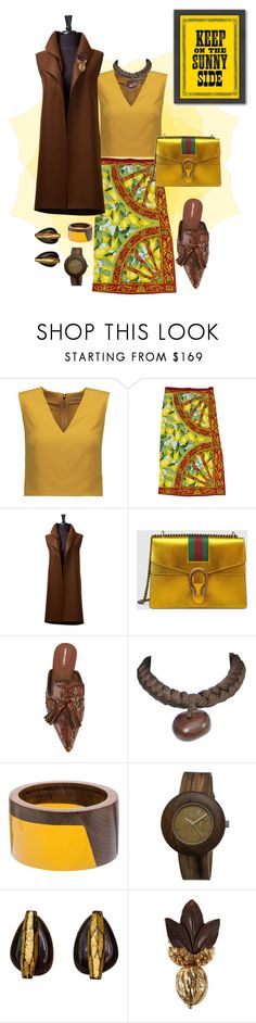 """""""Living my life like it's Golden"""" by scope-stilettos ❤ liked on Polyvore featuring Alice + Olivia, Dolce&Gabbana, Gucci, Alberta Ferretti, Yves Saint Laurent, Marni, Earth, Miriam Haskell and Americanflat"""
