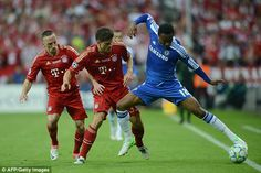 Mikel holds off the attentions of Mario Gomez during the Champions League final in 2012