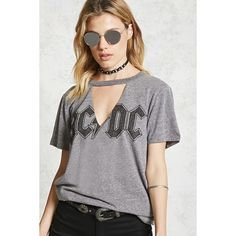 Forever21 Heathered ACDC Band Tee ($18) ❤ liked on Polyvore featuring tops, t-shirts, forever 21 t shirts, forever 21 tee, forever 21 and forever 21 tops