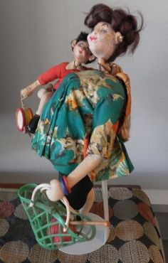 Vintage ROLDAN Cloth Doll PREGNANT MOM & CHILD Spain