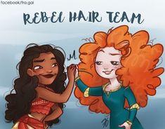 Moana and Merida: Rebel hair team by fra-gai on DeviantArt Disney Nerd, Disney Memes, Disney Fan Art, Disney Girls, Disney Love, Disney Magic, Disney Stuff, Funny Disney, Disney And Dreamworks