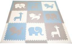 SoftTiles Safari Animals Kids Play Mat Sets with Borders Light Blue, Light Gray, White