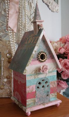 Charming Decoupage Birdhouse Lovebirds Forever by EnchantedRoseStudio