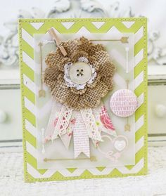 card with single big flower Burlap Flower Card mixed media paper fabric burlap by Melissa Phillips for Papertrey Ink (June Burlap Card, Shabby Chic Cards, Card Making Inspiration, Layout Inspiration, Burlap Crafts, Diy Presents, Scrapbook Paper Crafts, Love Cards, Card Tags