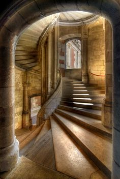 Staircase in the Chateau at Blois. [what my built-in secret stairwell will look like]