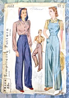 SImplicity 3322 - Vintage 1940s Hoodie Blouse, Overalls, and Cuffed Pants Pattern by Fragolina on Etsy