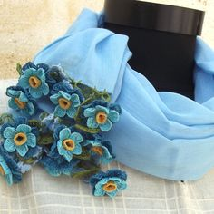 Turkish OYA Lace - Flower stole/Light Blue - Scarf Shawl For Her Gift For Women Winter Scarf Women Fashion Accessories by DaisyCappadocia on Etsy