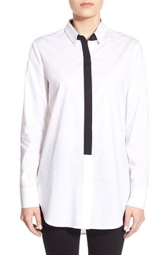 cupcakes and cashmere 'Colt' Contrast Placket Oversize Shirt available at #Nordstrom