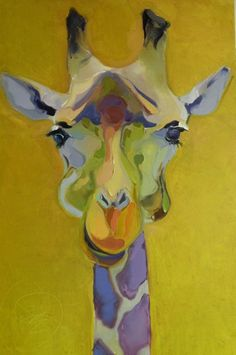 Bob Ransley - Giraffe on Yellow.love the colors of this giraffe Art And Illustration, Giraffe Art, Giraffe Painting, Mundo Animal, Art Plastique, Animal Paintings, Painting Inspiration, Art Lessons, Painting & Drawing