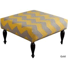 Bayonne Chevron Cocktail Ottoman (32 x 32 x 18) (Gold/Off-White), Size Medium (Upholstered)