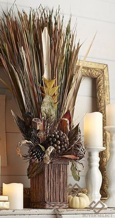 Fall Home Decor: Design tips and autumn decorating ideas. Find information and tons of fall decor curated by interior designer Tracy Svendsen. Artificial Floral Arrangements, Flower Arrangements, Fall Home Decor, Autumn Home, Autumn Fall, Autumn Decorating, Decorating Ideas, Diy Décoration, Christmas Decorations