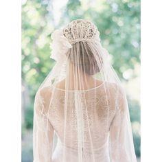 Cap nuptiale voile de mariée en dentelle style années 1920 par EricaElizabethDesign