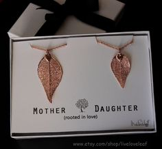 Mother Daughter matching Rose Gold Evergreen Leaf Necklaces by LiveLoveLeaf  #mothersdaygiftideas #mothersday #giftideas #beautiful #liveloveleaf #mother #daughter #motheranddaughter #mommyandme