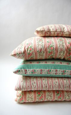 Vintage Ticking Pillows.... I had these and sure wish they still made... Ah! The Good Ole Days!!!