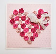 A bit of work, but so pretty. Would be pretty framed! Heart Diy, Be My Valentine, Valentine Cards, Easel Cards, Matching Gifts, January, Card Making, Greeting Cards, Diy Projects