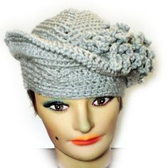 Strawberry Couture Hat Women Crochet Church Hat Gray With Fringes - Fashionable Unique Trendy Hat Distinctive Stylish Unusual