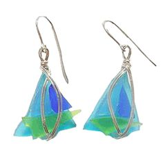 Sailboat Sea Glass Earrings - turquoise