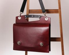 Leather attache briefcase laptop bag oxblood red  by Rimanchik, $400.00