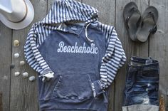 BEACHAHOLIC Striped Hoodie  W15106