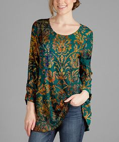 Another great find on #zulily! Green & Rust Floral-Accent Scoop Neck Tunic - Plus Too #zulilyfinds
