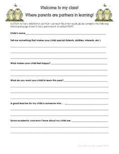 Fabulous Grade Froggies: Know your students (& their parents) Parent Forms, Teacher Forms, Letter To Teacher, Letter To Parents, Meet The Teacher, Parents As Teachers, Parent Letters, 4th Grade Classroom, Kindergarten Graduation