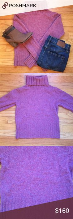 J.crew Pink Wool Turtleneck Sweater Great condition! 100% wool. Pink based speckled with light pink and purple. J. Crew Sweaters Cowl & Turtlenecks